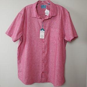Mens short sleeve linen button up shirt NWT Xl